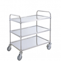 Large 3 tiers stainless platform trolley