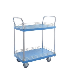 2 shelf plastic trolley with ledge