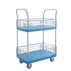 2 shelf plastic trolley with ledge