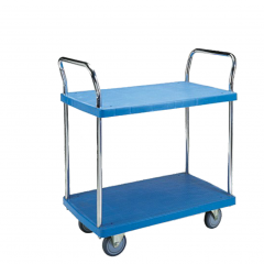 Double handle 2 shelf plastic platform trolley
