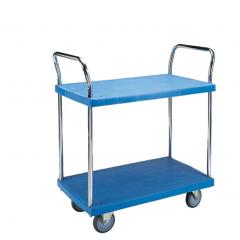Double handle 2 shelf plastic platform trolley