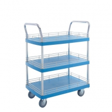 3 shelf plastic platform trolley with ledge