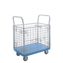 Plastic platform trolley with wire mesh