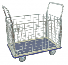Platform trolley with wire mesh
