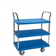 3 shelf plastic platform trolley