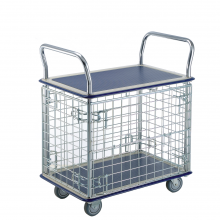 Wire mesh 2 shelf platform trolley